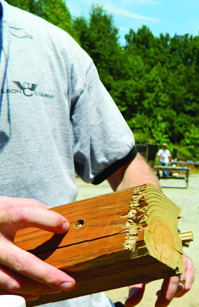 bullet hole in wood pole