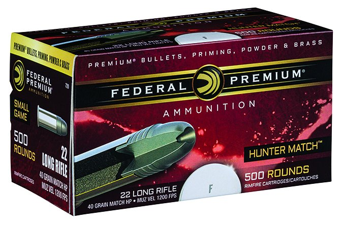 federal premium 40-grain HP Hunter Match 22 Long Rifle
