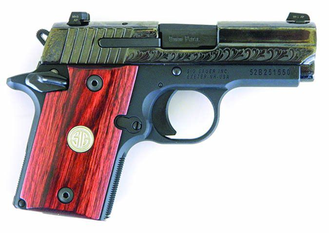 SIG Sauer P938 Engraved Rosewood Micro-Compact 938-9-ESR 9mm Luger