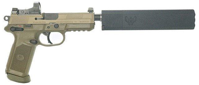 pistol with suppressor